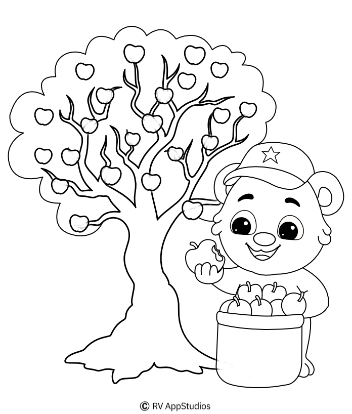 apple tree coloring for kids free printable play money coins legendary dragon characters coloring pages Apple Tree Coloring Page