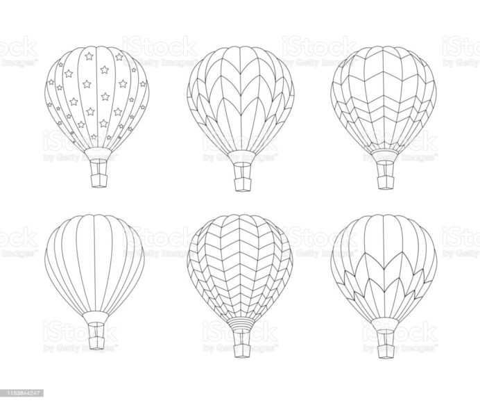 balloon coloring illustrations clip art hot air for whitebard irrasable markers pictures coloring pages Hot Air Balloon Coloring Page