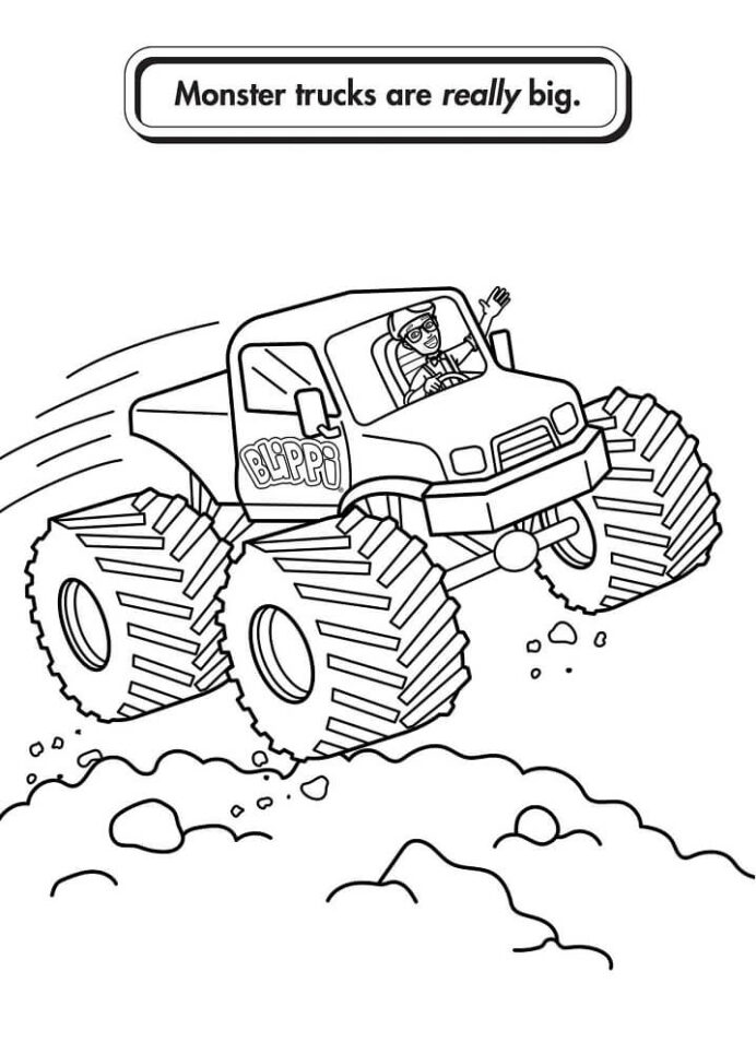 blippi driving monster truck coloring free printable for kids crayola geography project coloring pages Blippi Coloring Page