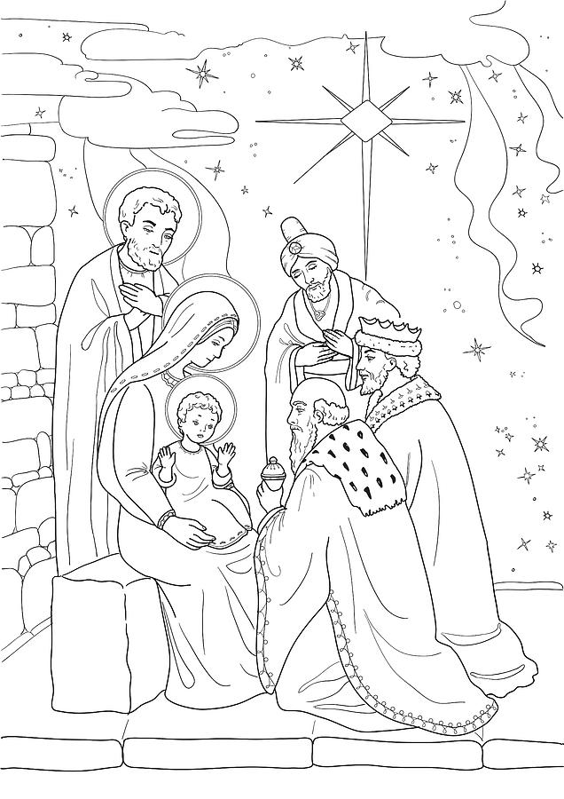 christmas coloring with baby jesus mary joseph three wis drawing by olha zolotnyk easter coloring pages Baby Jesus Coloring Page