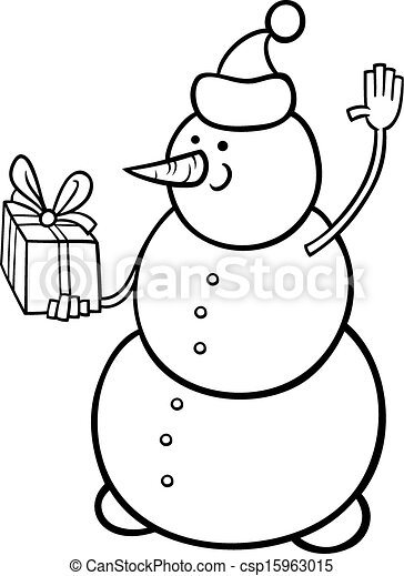 christmas snowman coloring black and illustration of as santa claus character with coloring pages Snowman Coloring Page