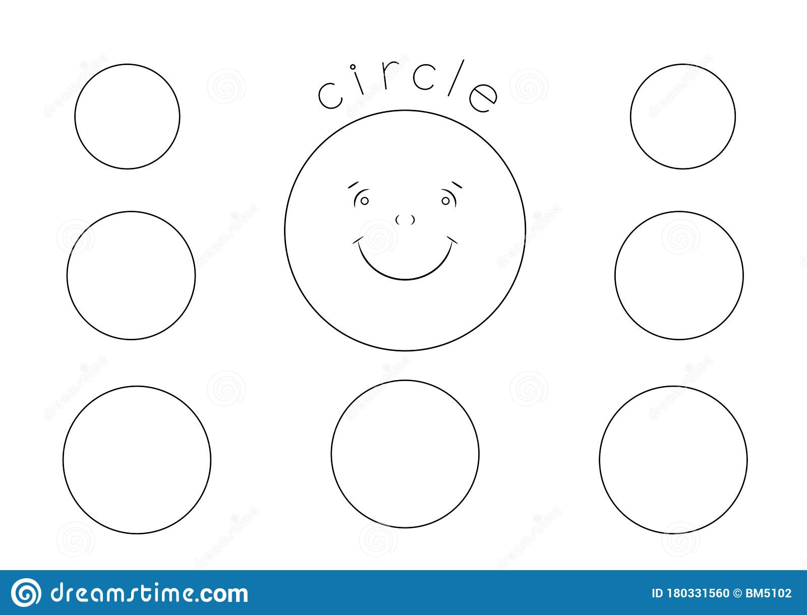 circle shape coloring for kids outline drawing stock illustration of line basic shapes coloring pages Circle Coloring Page