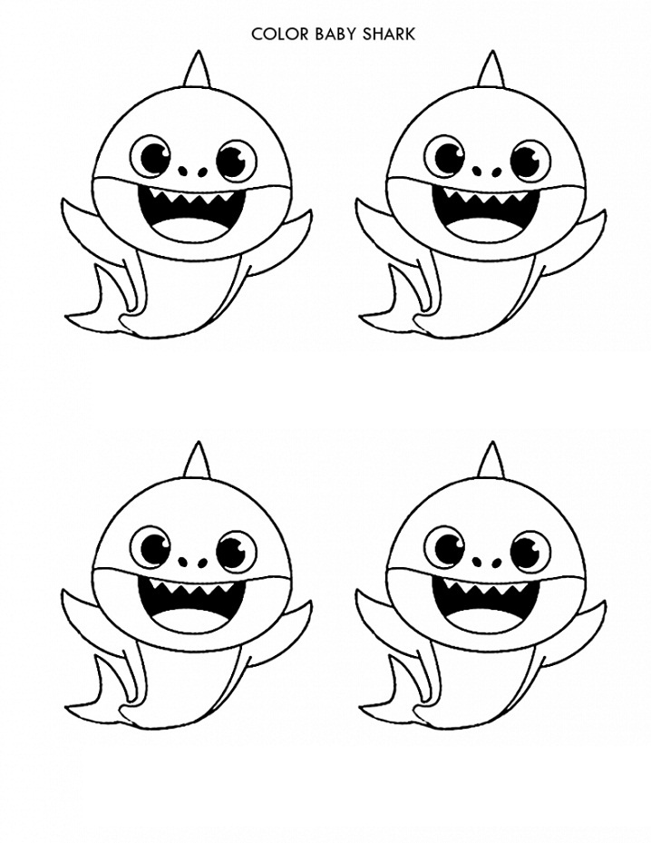 color baby shark coloring free printable for kids 791x1024 liana outline crayola coloring pages Baby Shark Coloring Page
