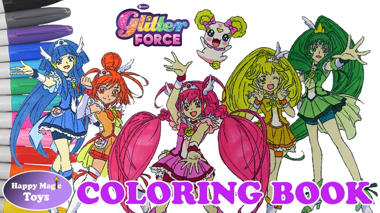 coloring book glitter force all members plus candy happy magic toys maze for kids coloring pages Glitter Force Coloring Page