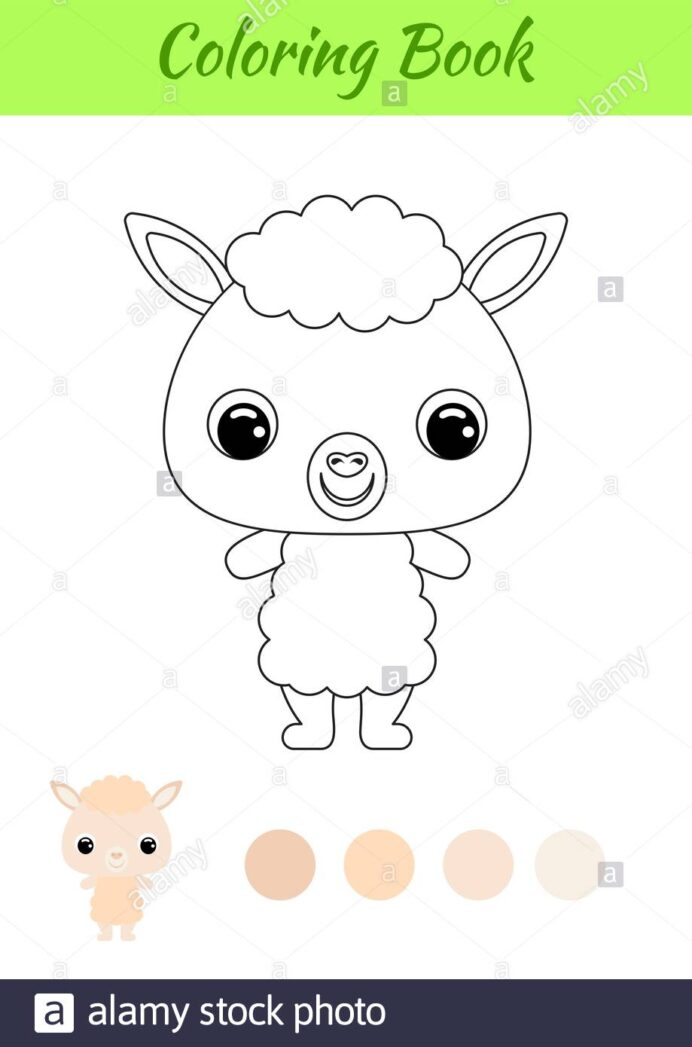 coloring book little baby alpaca for kids educational activity preschool years and coloring pages Alpaca Coloring Page