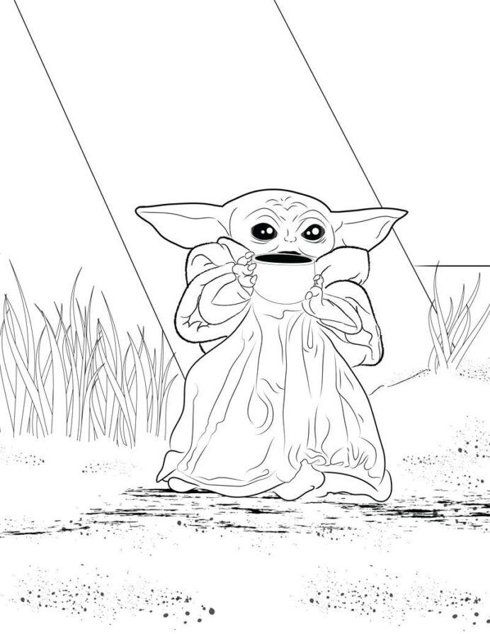 coloring for you to use babyyoda baby yoda grogu know your meme recycled bird feeder coloring pages Yoda Coloring Page