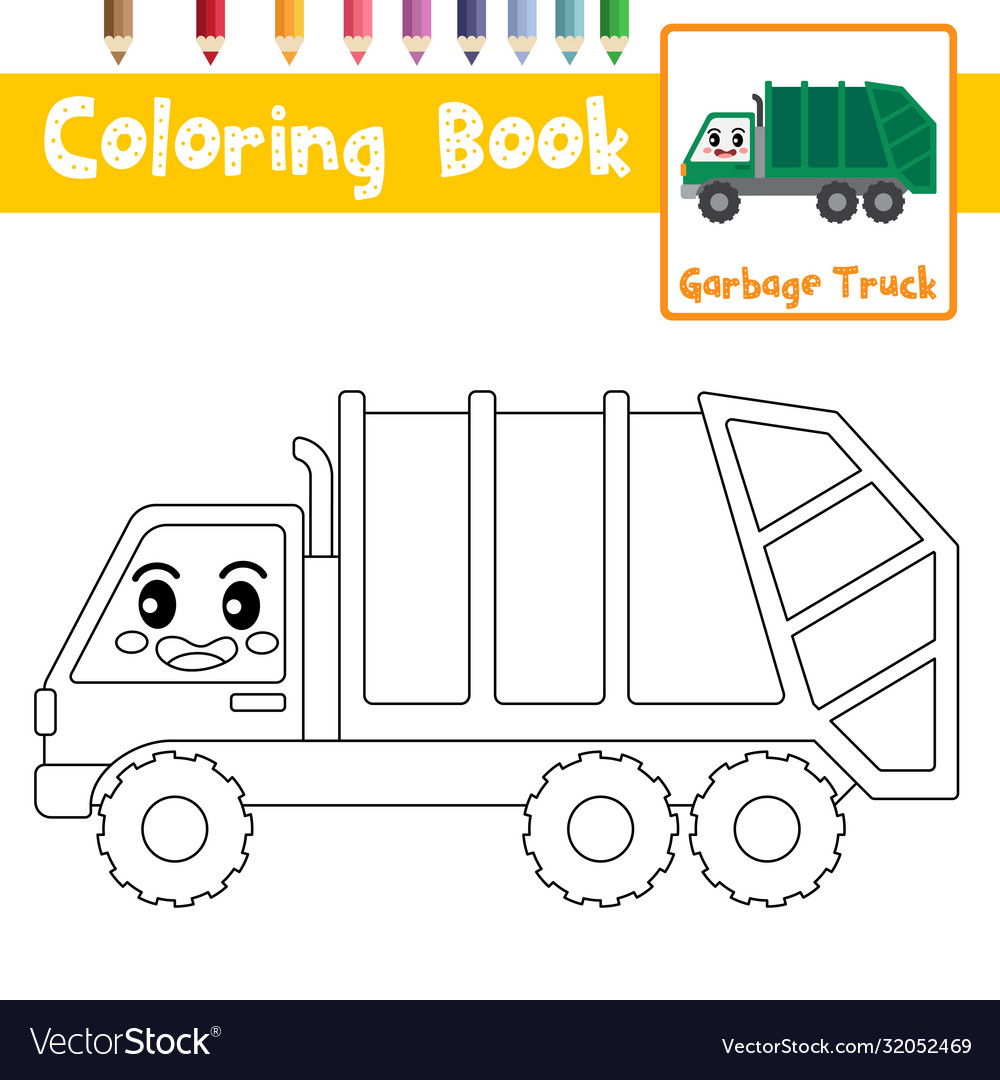 coloring garbage truck character vector image lionel trains scale book crayon coloured coloring pages Garbage Truck Coloring Page