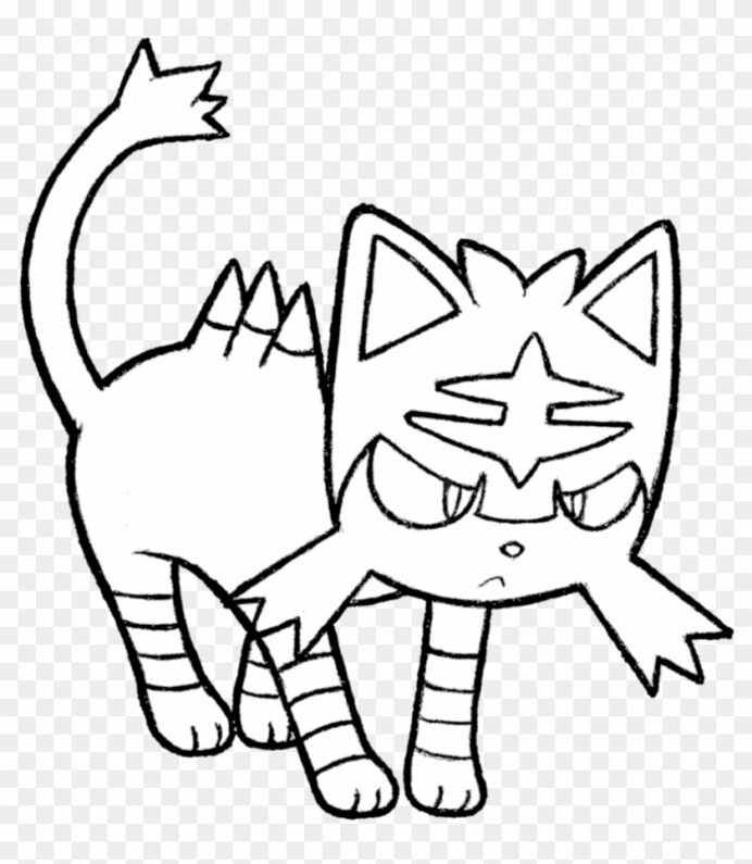coloring of pokemon litten for kids incineroar cats color sheet christmas thank you coloring pages Incineroar Coloring Page
