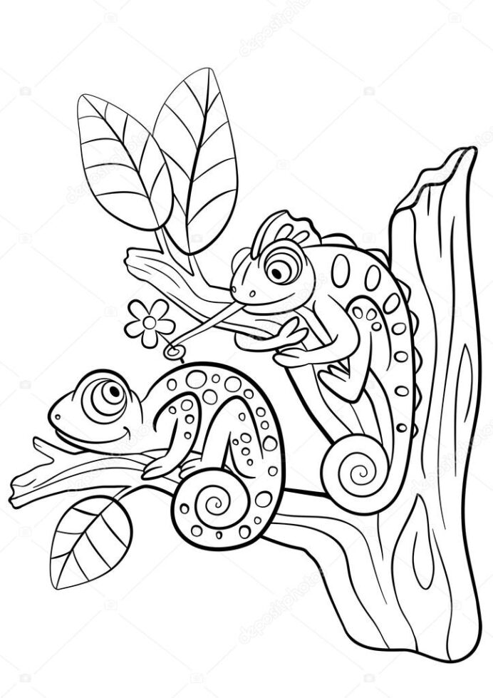 coloring wild animals two little cute chameleon stock vector image by ya mayka coloring pages Chameleon Coloring Page