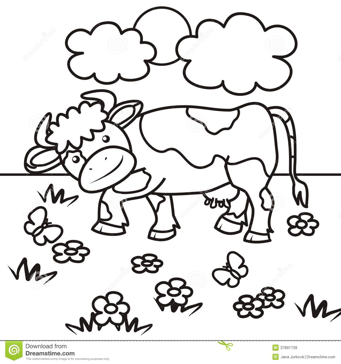 cow coloring book stock vector illustration of butterfly my favorite color is target coloring pages Cow Coloring Page