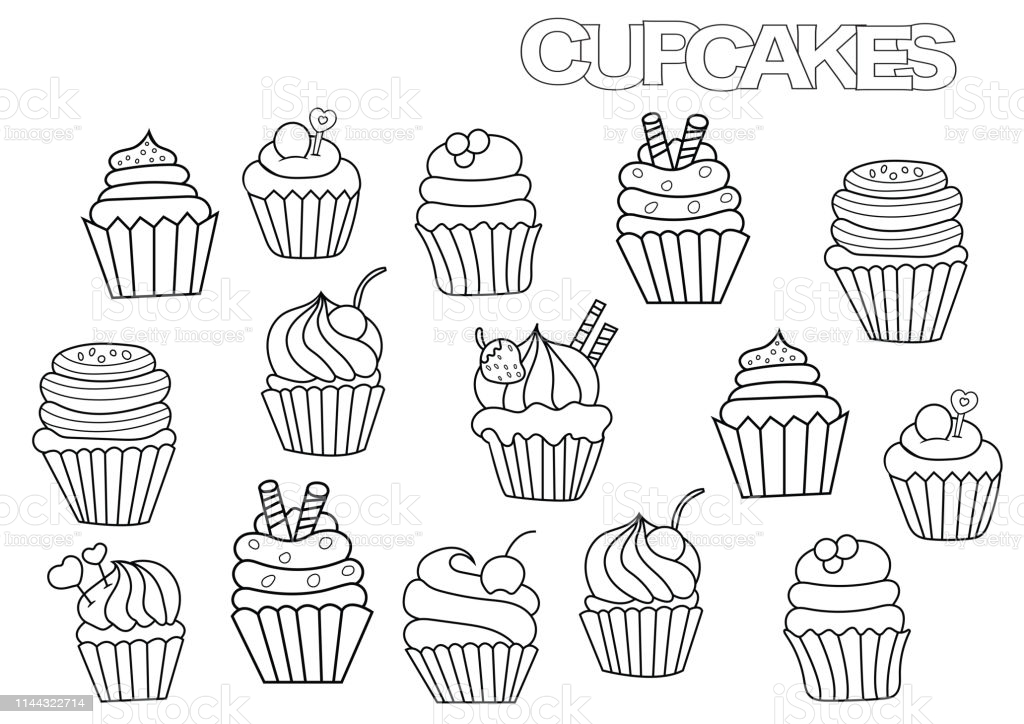cupcake coloring illustrations clip art pictures to drawing color easter bunny craft kit coloring pages Cupcake Coloring Page