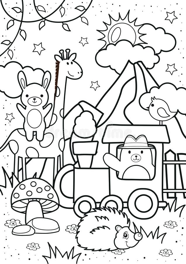 cute bear and friends in the coloring stock vector illustration of baby black kids book coloring pages Kids Coloring Page