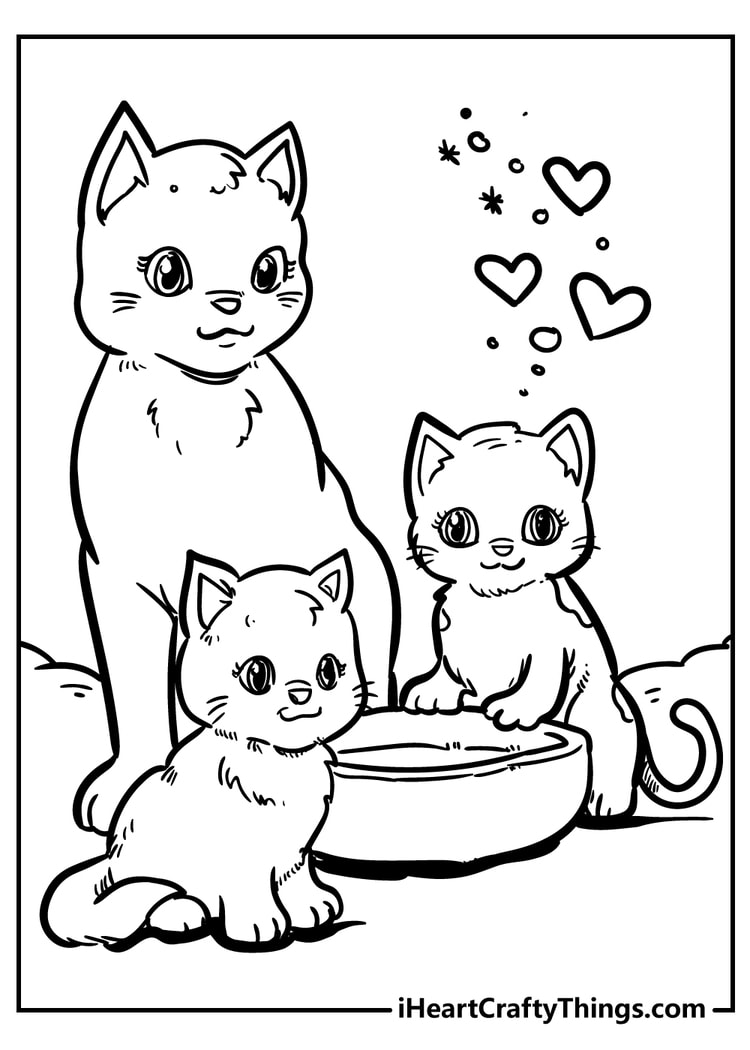 cute cat coloring unique and extra cats gift for fashion designer grape color turkeys coloring pages Cats Coloring Page