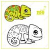 cute little chameleon color and outlined on for coloring royalty free vectors stock coloring pages Chameleon Coloring Page