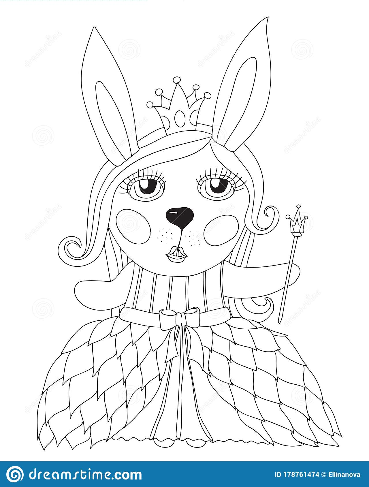 cute rabbit coloring isolated stock vector illustration of child bunny dress rainstick coloring pages Rabbit Coloring Page