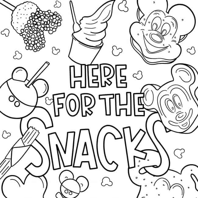 disney coloring we re here for the snacks printable scaled crayola sprinkle art shaker coloring pages Coloring Page Printable