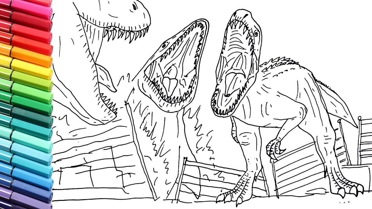 drawing and coloring indominus rex vs mosasaur draw jurassic world dinosaurs battle coloring pages Indominus Rex Coloring Page