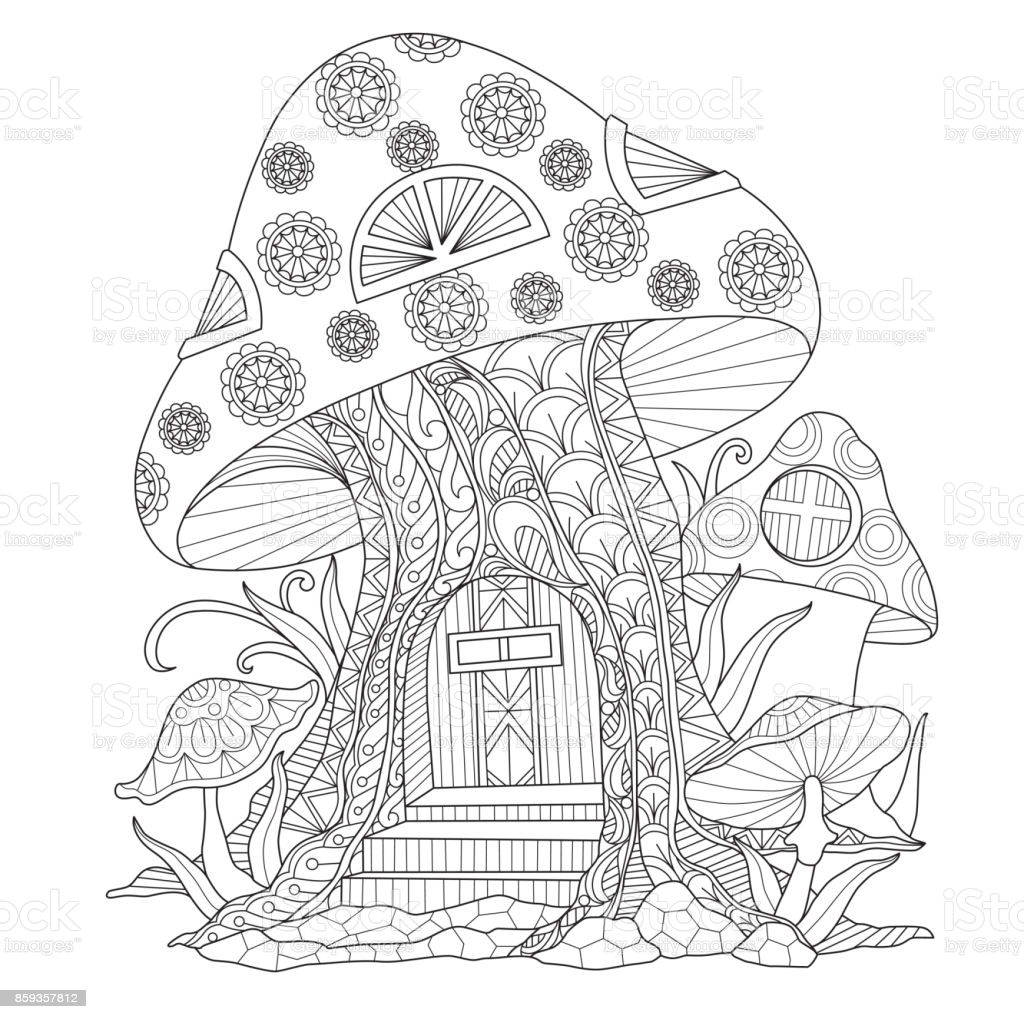 drawn mushroom house for adult coloring stock illustration image now construction paper coloring pages Mushroom Coloring Page