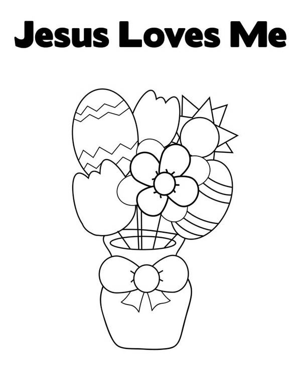easter egg and flowers in jesus coloring color loves crayola fingerpaint school supply coloring pages Jesus Loves Me Coloring Page