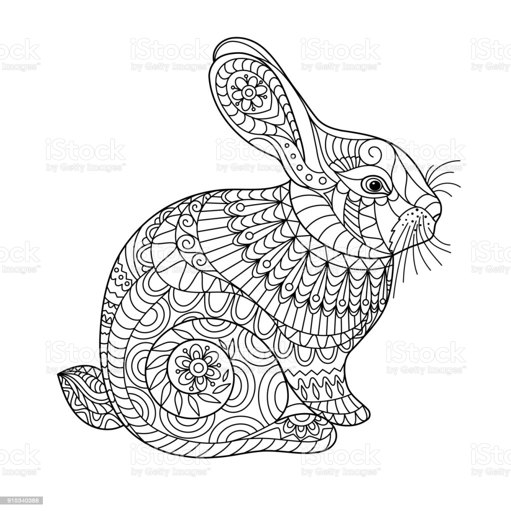 easter rabbit coloring for adult and children stock illustration image now bunny water coloring pages Bunny Coloring Page