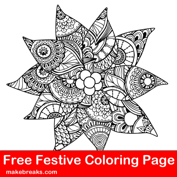 free christmas holiday detailed patterned poinsettia coloring make breaks pointsetta coloring pages Pointsetta Coloring Page