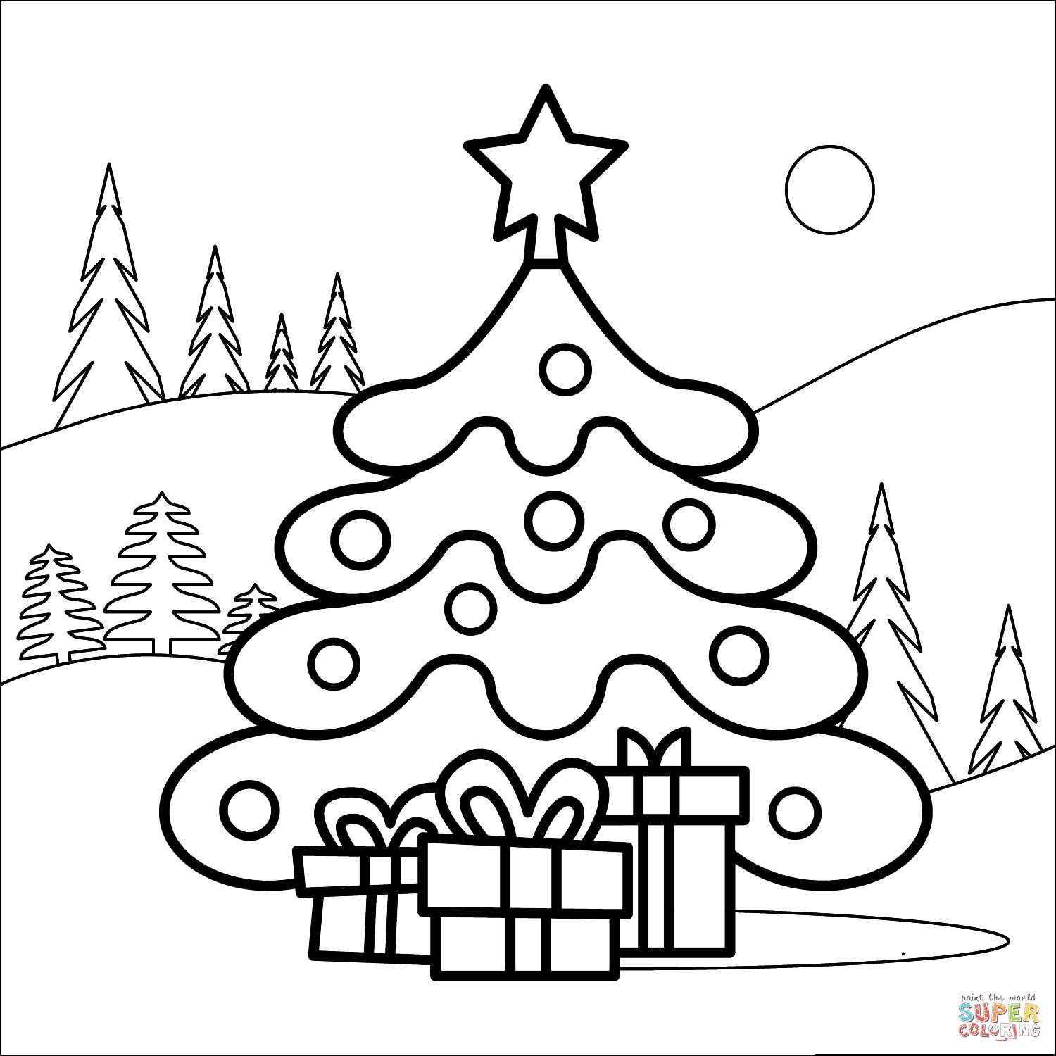 free christmas tree coloring for the kids supercoloring flower string international coloring pages Coloring Page Christmas Tree