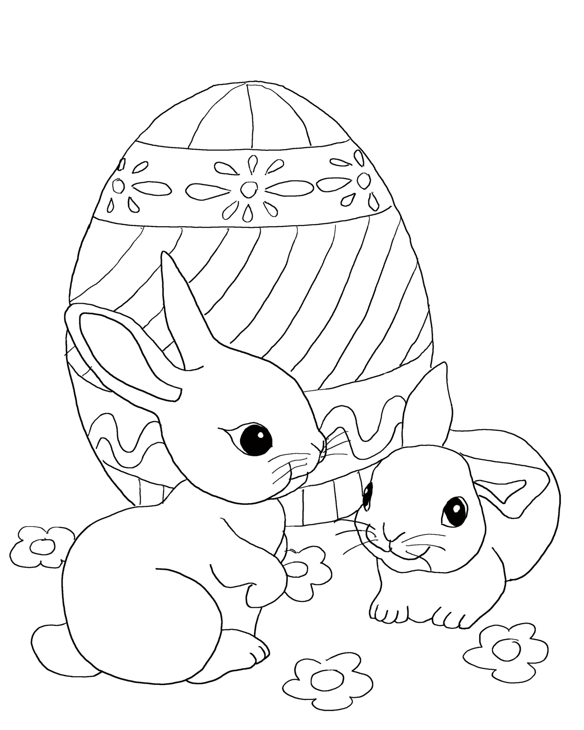free easter coloring for kids high printing quality bunnies with giant egg truckey coloring pages Easter Coloring Page
