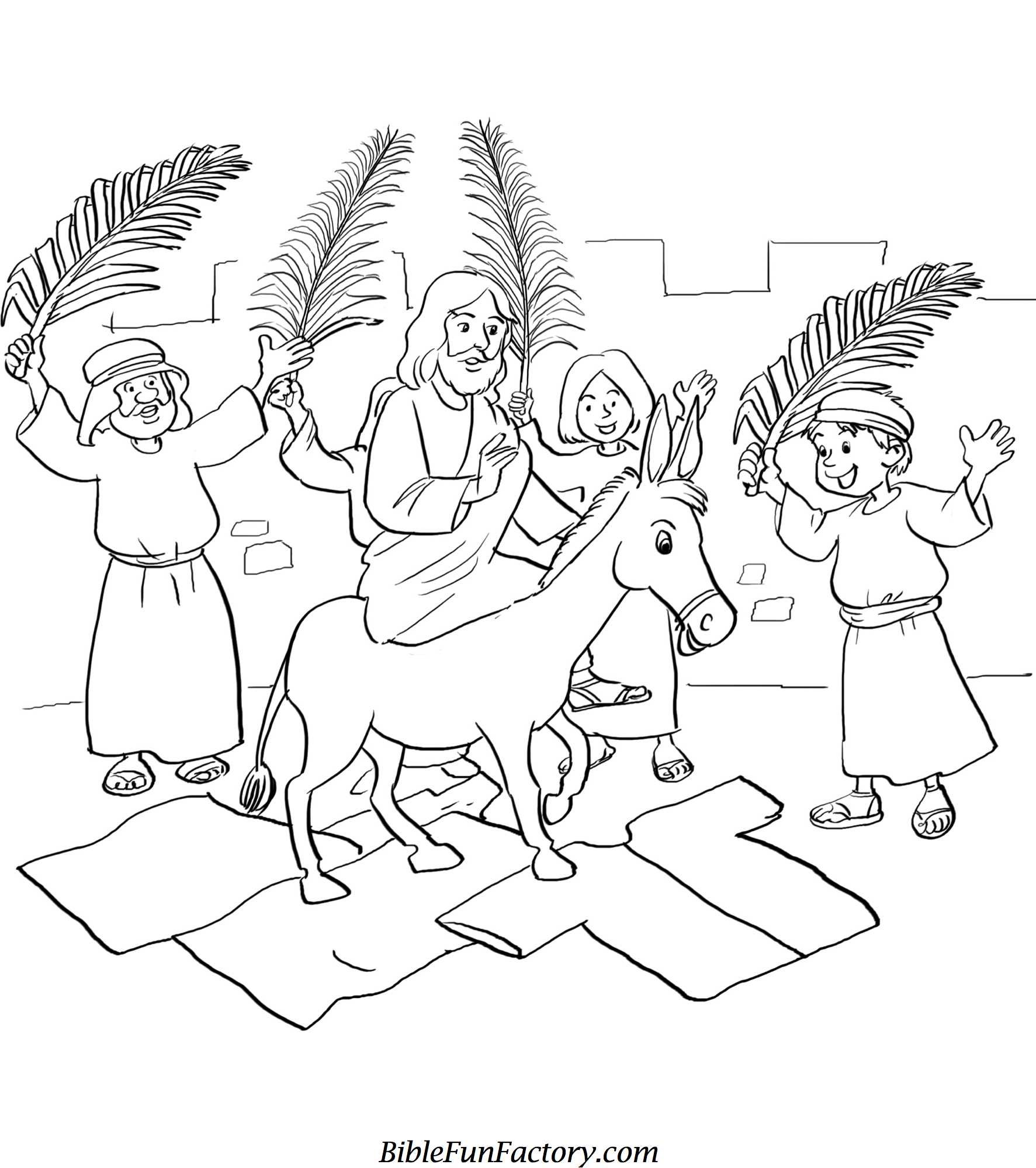 free palm sunday coloring sheets bible lessons games and activities biblefunfactory coloring pages Palm Sunday Coloring Page
