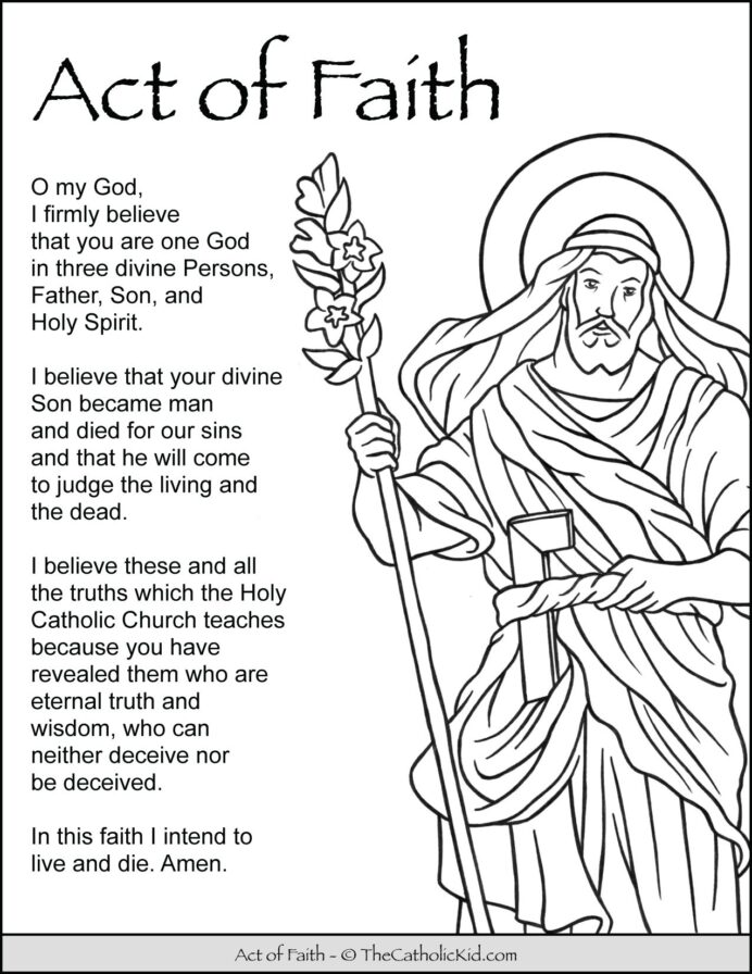free printable catholic coloring for kids the kid act of faith prayer cnt mls sticker coloring pages Catholic Coloring Page
