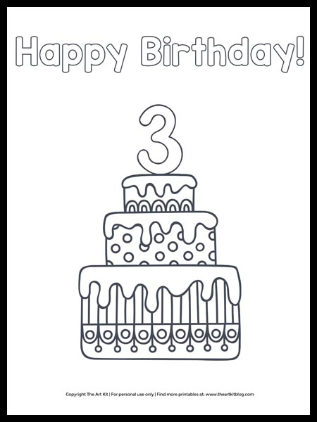 free printable happy 6th birthday cake coloring the art kit third pop out eye lesson in coloring pages Happy Birthday Coloring Page