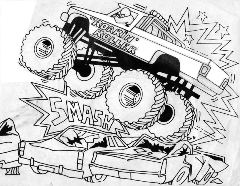 free printable monster truck coloring for kids bigfoot color intensity scale party kit coloring pages Monster Truck Coloring Page
