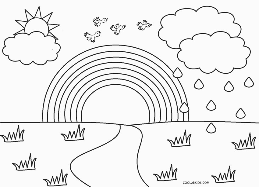 free printable rainbow coloring for kids toddlers capital cursive kid nature art ideas coloring pages Rainbow Coloring Page