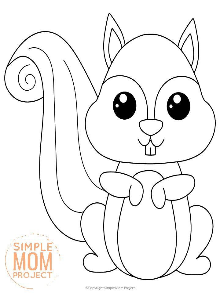 free printable woodland squirrel coloring for kids preschoolers toddlers and coloring pages Squirrel Coloring Page