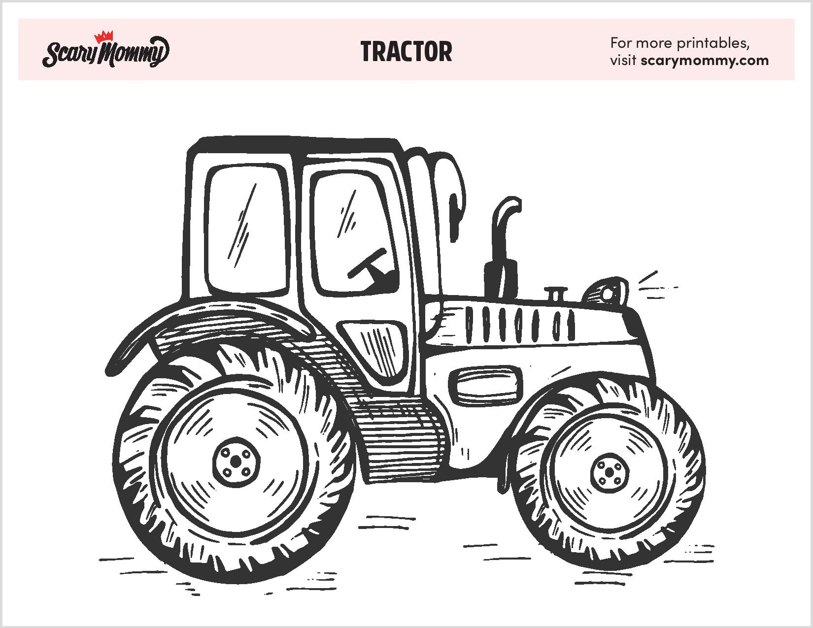 free tractor coloring that ll plow through your kid boredom tractors black glue and coloring pages Tractors Coloring Page