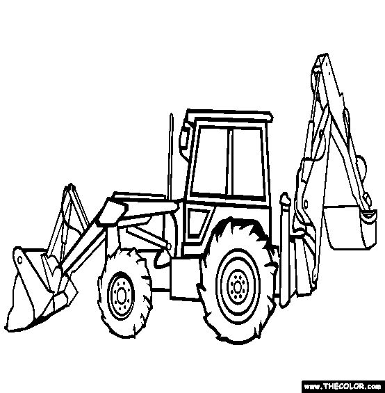 free trucks coloring color in this of an backhoe loader and others with our tractor truck coloring pages Backhoe Coloring Page