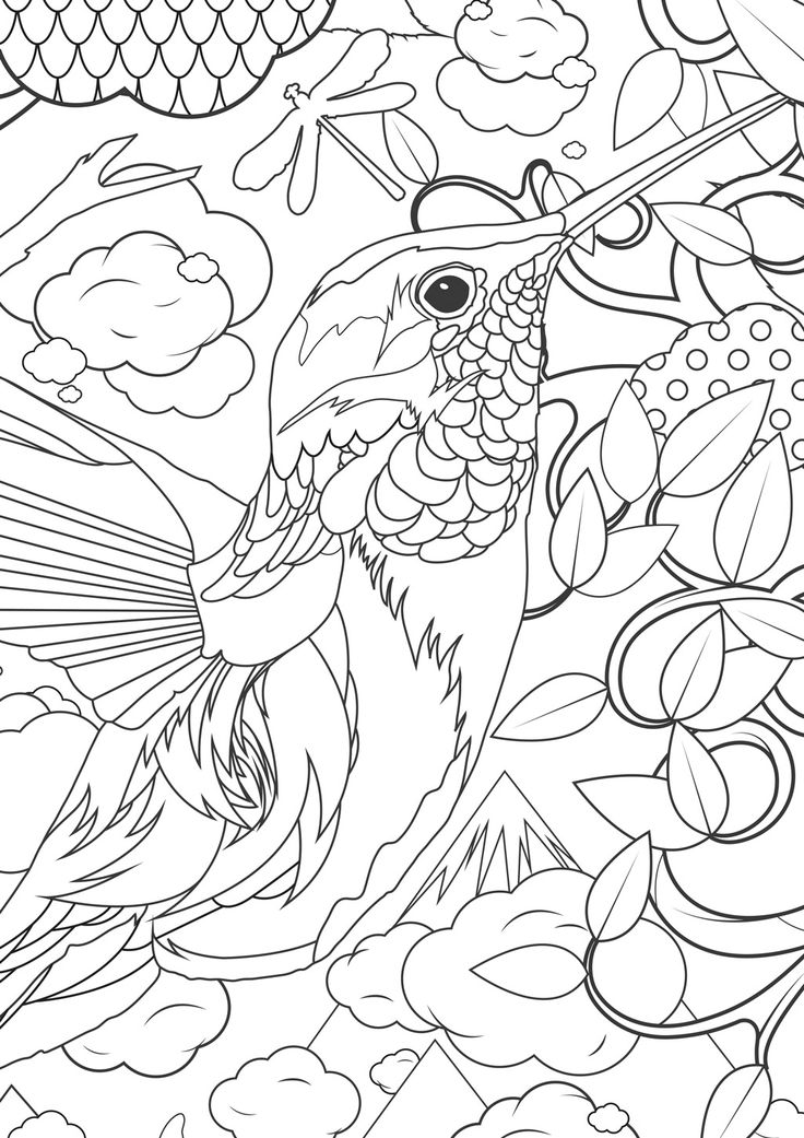 fun coloring for older kids pixels bird animal cool hummingbird adults calligraphy color coloring pages Hummingbird Coloring Page