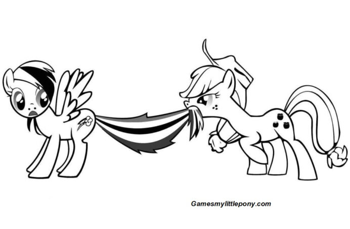 funny rainbow dash and applejack coloring my little pony thanksgiving games imaginary coloring pages Applejack Coloring Page