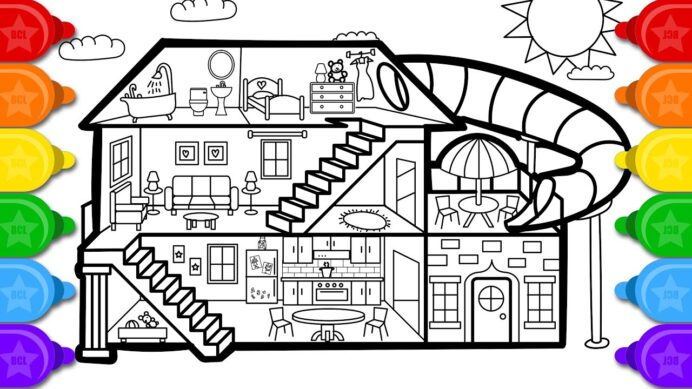 glitter house coloring and drawing for kids to draw fall activity sheets ink in putty coloring pages Coloring Page House