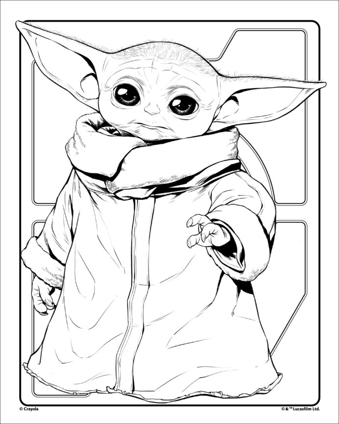 grogu baby yoda crayola coloring free outline colour book kids activity sets for sharks coloring pages Baby Yoda Coloring Page