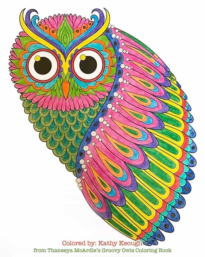 groovy owls coloring book by thaneeya mcardle owl technicolor free shape sheet easter coloring pages Owl Coloring Page