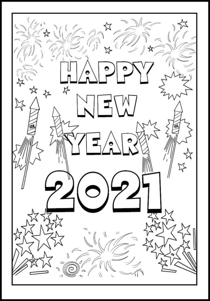 happy new year coloring free printable for kids hopscotch rules and games motorbike leaf coloring pages 2021 Coloring Page