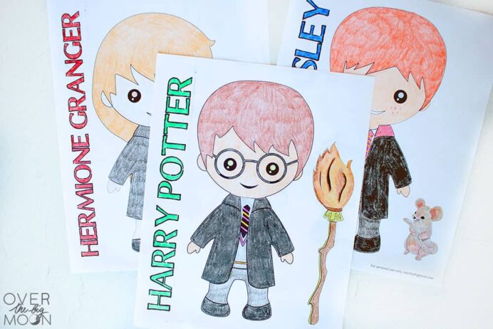 harry coloring over the big moon free printable flouerecent pink rainbow sheet trees coloring pages Harry Potter Coloring Page