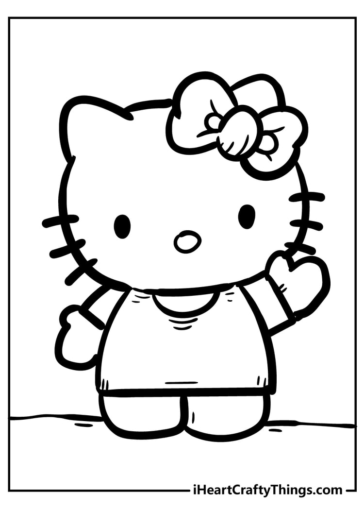 hello kitty coloring cute and free christmas ornament craft kits twisty pencil sepia with coloring pages Kitty Coloring Page