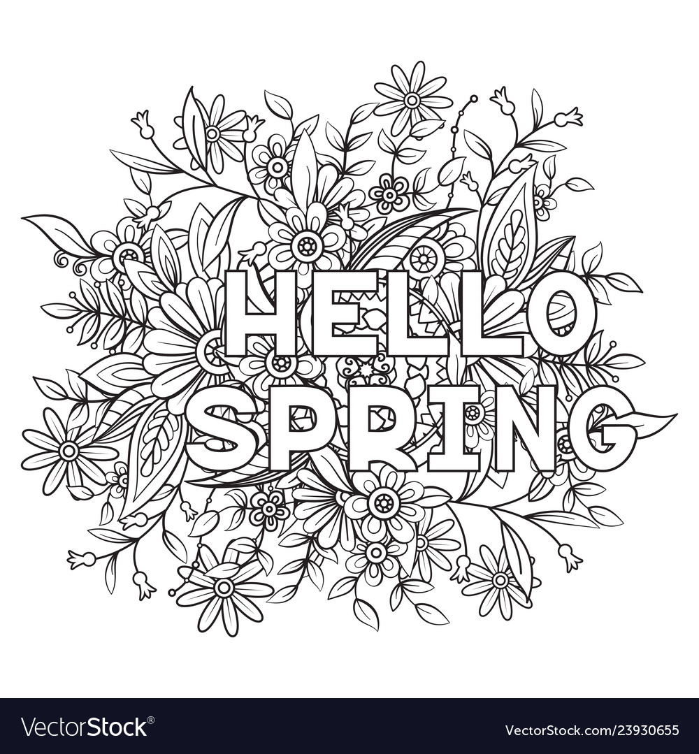 hello spring coloring royalty free vector image halloween printables for kids color coloring pages Spring Coloring Page