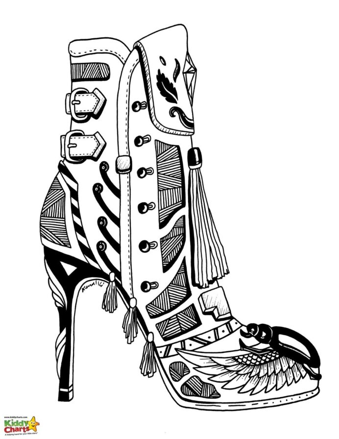high heel shoe coloring for adults and kids aztec ceremonial mask no wax paint cool old coloring pages Shoe Coloring Page
