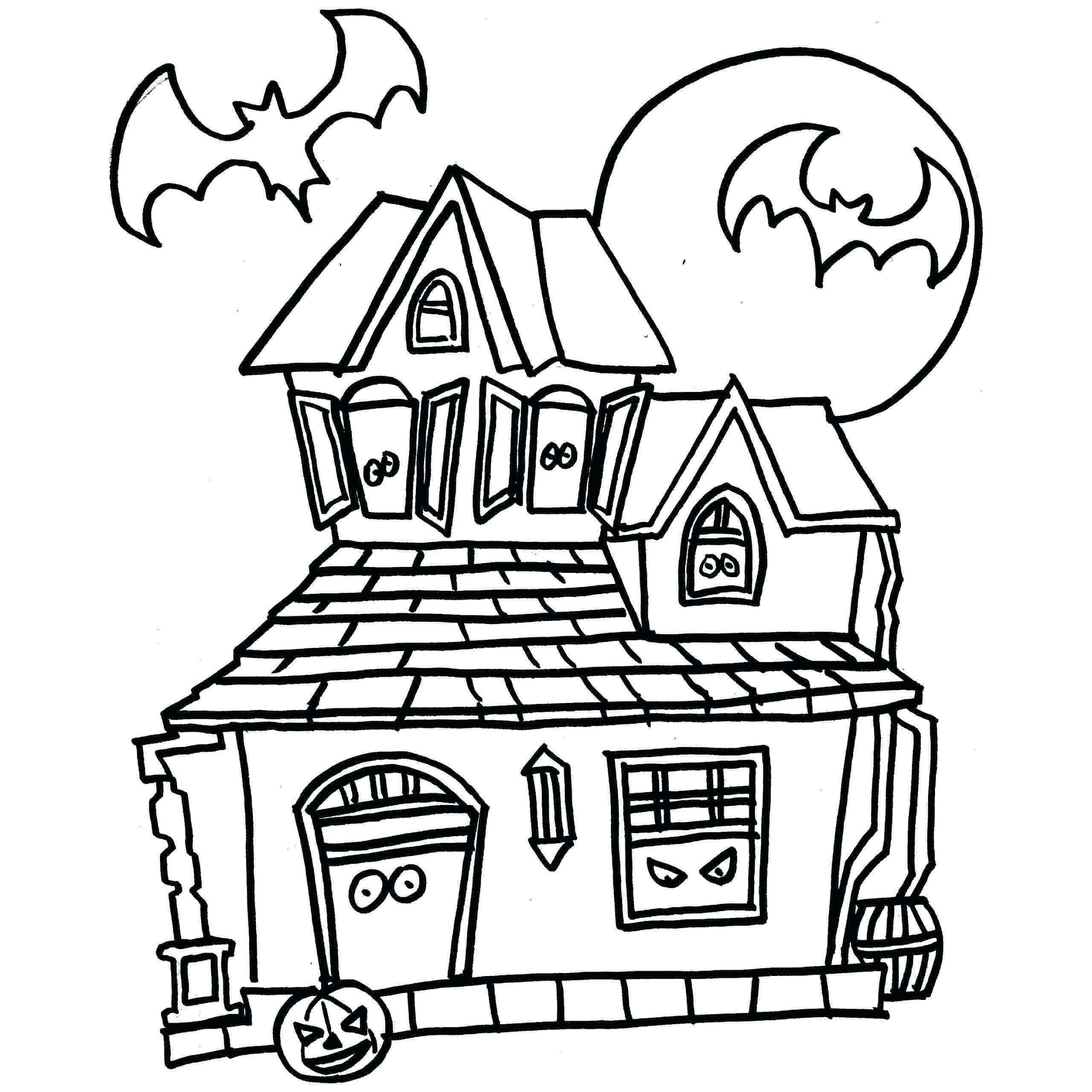 hq haunted house coloring free printable for kids art kits adults cover photos happy fall coloring pages Haunted House Coloring Page