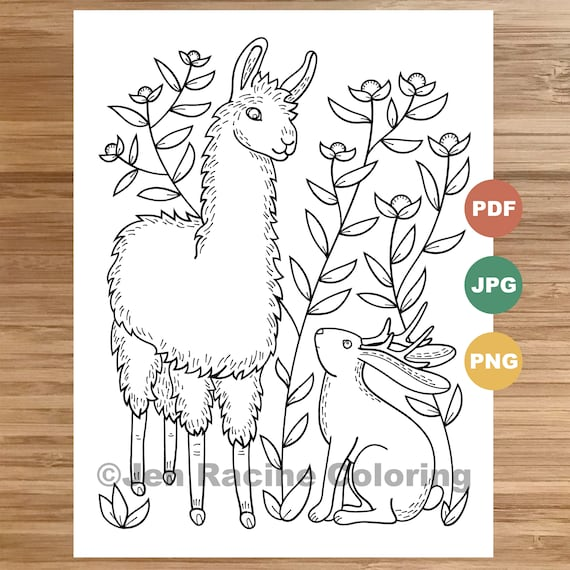 jackalope and llama coloring magical animals etsy il 570xn 9e3x cleaning tips stain coloring pages Llama Coloring Page