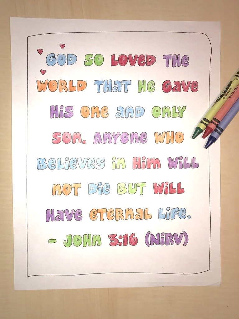 john bible verse coloring 1024x hard christmas easter craft projects homemade halloween coloring pages John 3:16 Coloring Page
