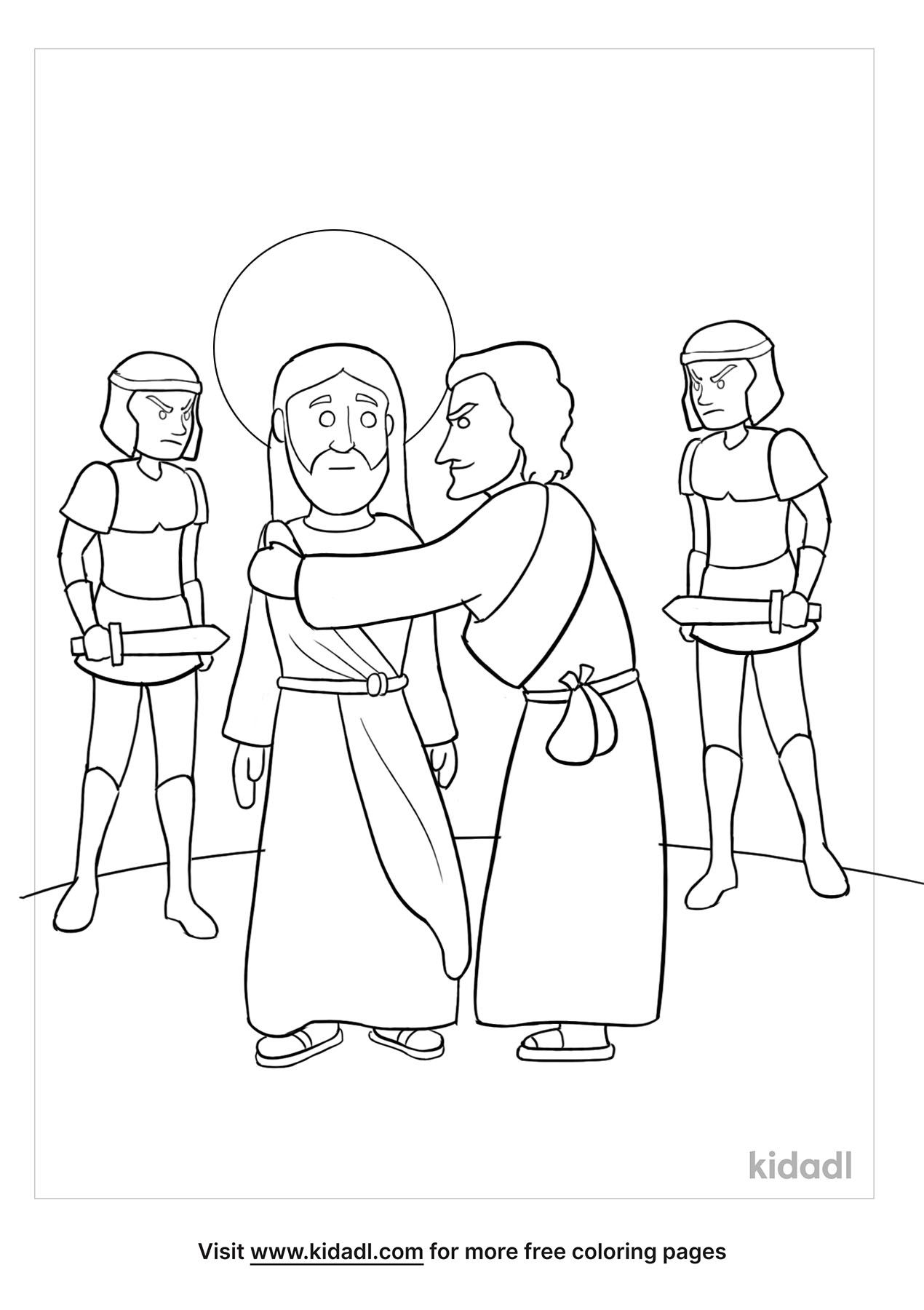 judas betrays jesus coloring free bible kidadl lg trucks printables colors of kwanzaa coloring pages Jesus Coloring Page