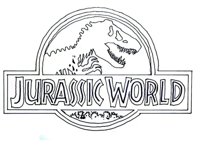 jurassic world coloring free printable for kids construction stencil pencil brush water coloring pages Jurassic Park Coloring Page